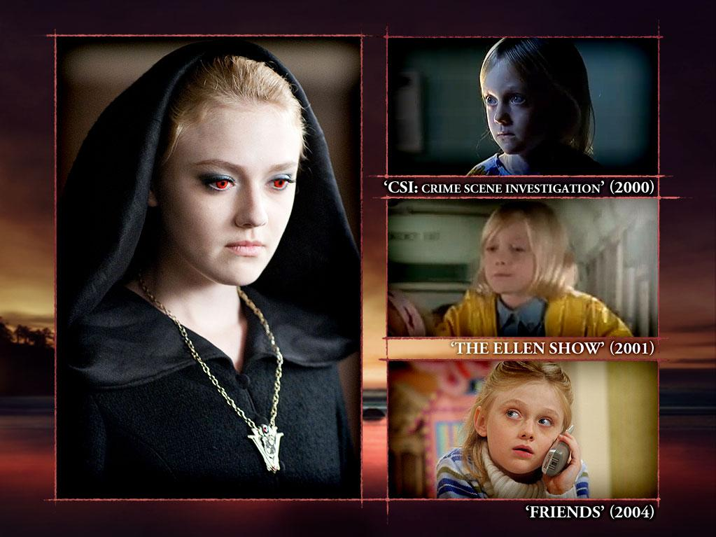 "<b>Dakota Fanning (Jane)</b><br><br>We get chills every time Dakota and her piercing red eyes glare at us from the screen during ""Eclipse."" Who would believe that before she was a blood-sucking vampire, Dakota was the most popular child actress in La La Land? And her specialty was portraying ""little kid"" versions of actresses in popular 1990s sitcoms. Dakota got her start in ""<a>Ally McBeal</a>"" (2000) as Little Ally and stole the spotlight as Little Ellen on ""<a>The Ellen Show</a>"" (2001). Once producers realized how adorable and sassy she was, they cast Dakota in almost every show on television, including ""<a>ER</a>"" (2000), ""<a>CSI</a>"" (2000), ""<a>Malcolm in the Middle</a>"" (2001), and ""<a>Friends</a>"" (2004)."