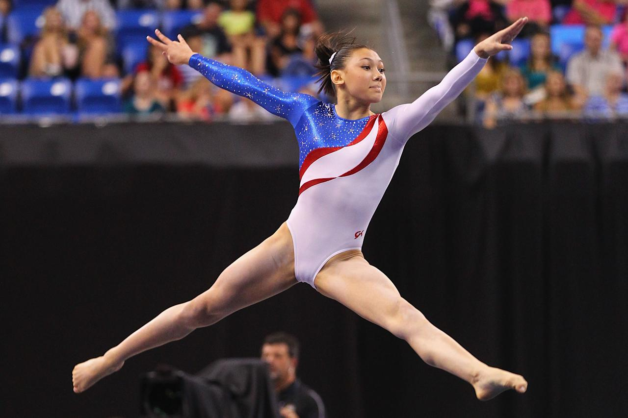 ST. LOUIS, MO - JUNE 10: Kyla Ross competes in the floor event during the Senior Women's competition on day four of the Visa Championships at Chaifetz Arena on June 10, 2012 in St. Louis, Missouri.  (Photo by Dilip Vishwanat/Getty Images)