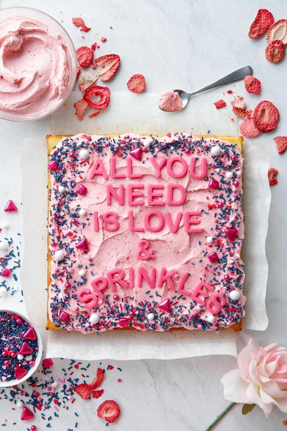 "<p>Classic, cute, and timeless, this moist cake features a hint of vanilla and lemon zest that'll entice anyone's taste buds. It's topped with a fluffy strawberry rose buttercream, so make this for your sweetheart to score extra points on Valentine's Day. </p> <p><strong>Get the recipe</strong>: <a href=""https://www.loveandoliveoil.com/2021/01/yellow-sheet-cake-with-strawberry-rose-buttercream.html"" class=""link rapid-noclick-resp"" rel=""nofollow noopener"" target=""_blank"" data-ylk=""slk:yellow sheet cake with strawberry rose buttercream"">yellow sheet cake with strawberry rose buttercream</a></p>"