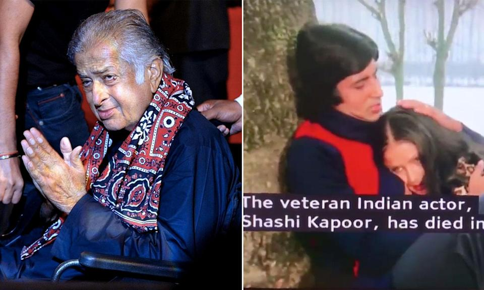 Shashi Kapoor (left) pictured in 2015, and the footage of Amitabh Bachchan used during the news segment. (AFP/BBC News)
