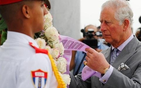 <span>Prince Charles laid a wreath when he arrived in Havana on Sunday</span> <span>Credit: Phil Noble/Reuters </span>