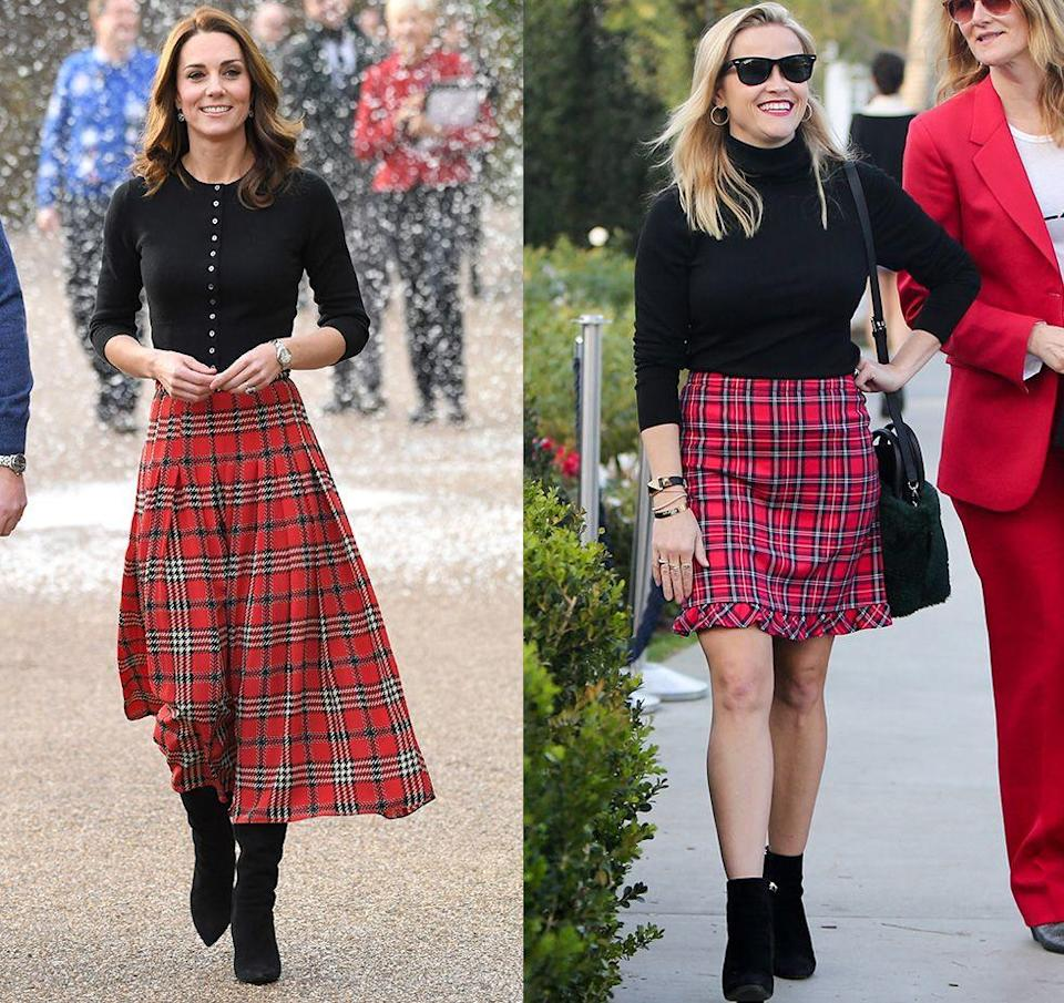 <p>The Duchess of Cambridge was not only festive in a black sweater, a red plaid pleated skirt, and boots for a Christmas party in 2018, she was also on trend. Only a few days after the Duchess rocked this look, Reese Witherspoon was spotted out and about in Los Angeles wearing a nearly identical ensemble. </p>