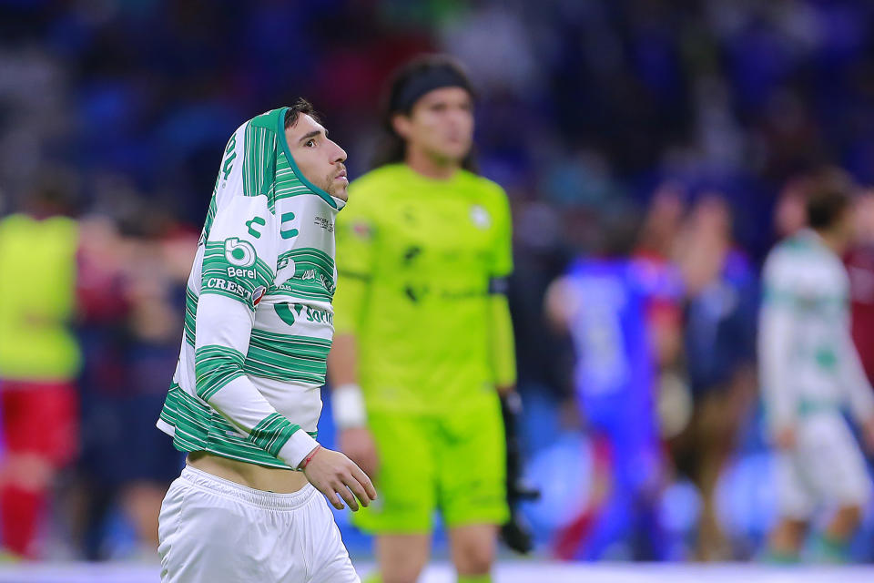 MEXICO CITY, MEXICO - MAY 30: Fernando Gorriaran of Santos reacts after losing the Final second leg match between Cruz Azul and Santos Laguna as part of Torneo Guard1anes 2021 Liga MX at Azteca Stadium on May 30, 2021 in Mexico City, Mexico. (Photo by Mauricio Salas/Jam Media/Getty Images)