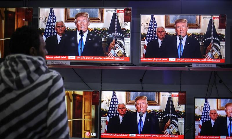 Trump's speech on TV in Gaza City.
