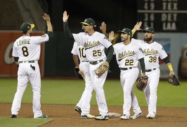 FILE - In this Wednesday, Aug. 8, 2018, file photo, Oakland Athletics players celebrate after beating the Los Angeles Dodgers 3-2 in a baseball game in Oakland, Calif. Never before in his managerial career has Bob Melvin been around a team with such a knack for comebacks, for winning the close ones in the late innings despite what might seem insurmountable odds. (AP Photo/Jeff Chiu, File0