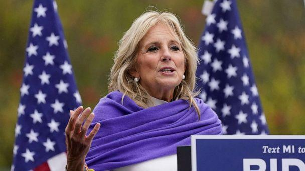 PHOTO: Jill Biden speaks to supporters while campaigning for her husband Democratic presidential candidate former Vice President Joe Biden, Oct. 29, 2020, in Westland, Mich. (Carlos Osorio/AP)