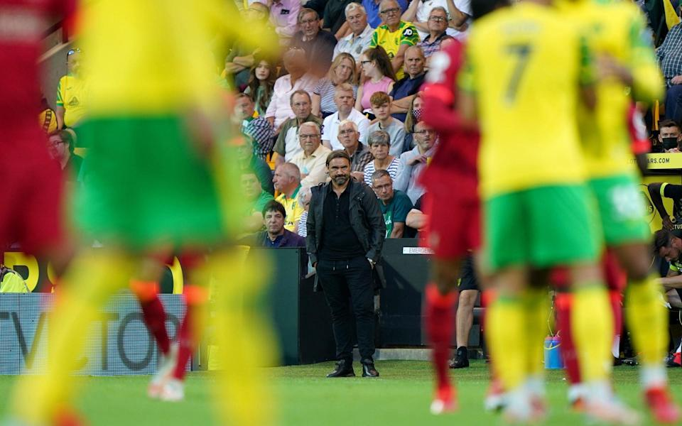 Norwich City manager Daniel Farke on the touchline during the Premier League match at Carrow Road, Norwic - PA