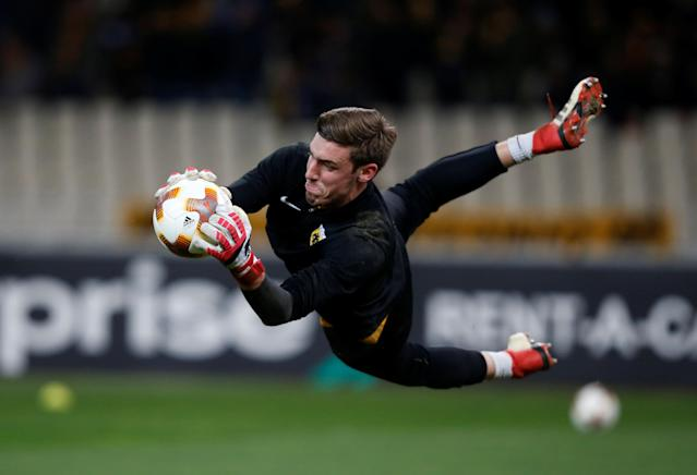 Soccer Football - Europa League Round of 32 First Leg - AEK Athens vs Dynamo Kiev - OAKA Spiros Louis, Athens, Greece - February 15, 2018 AEK's Vasilios Barkas during the warm up before the match REUTERS/Alkis Konstantinidis