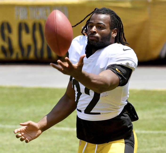 Pittsburgh Steelers running back Najee Harris warms up during an NFL football training camp Saturday, July 31, 2021, at Heinz Field in Pittsburgh. (Matt Freed/Pittsburgh Post-Gazette via AP)
