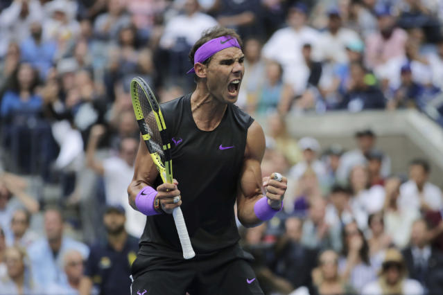 FILE - In this Sept. 8, 2019, file photo, Rafael Nadal, of Spain, reacts after scoring a point against Daniil Medvedev, of Russia, during the men's singles final of the U.S. Open tennis championships in New York. New York Gov. Andrew Cuomo said Tuesday, June 16, 2020, that the U.S. Open tennis tournament will held starting in late August as part of the state's reopening from shutdowns caused by the coronavirus pandemic. (AP Photo/Charles Krupa, File)