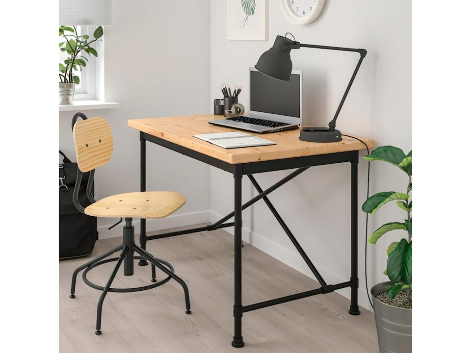 While working from home, get a good desk and chair that will help your posture and productivity (Ikea )Ikea