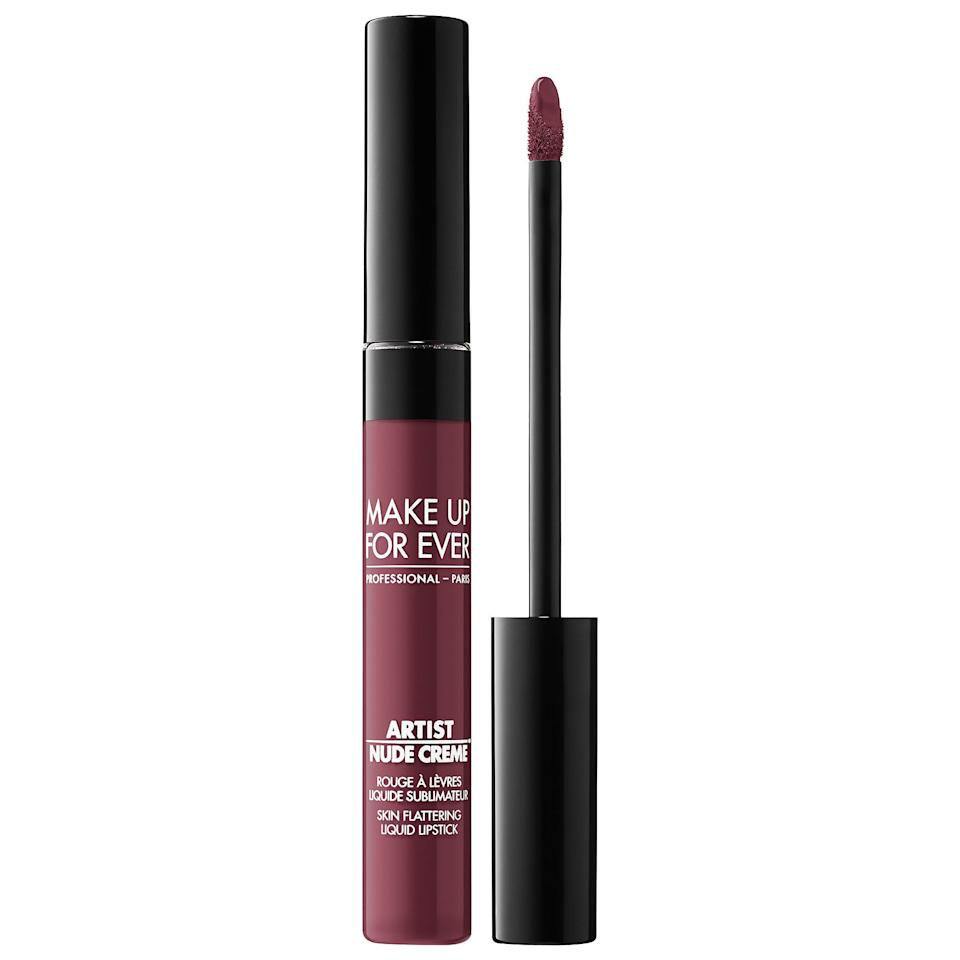 """<h3>Make Up For Ever</h3><p>For every tube of Make Up For Ever's new <a href=""""https://www.sephora.com/product/artist-nude-creme-liquid-lipstick-P445728?om_mmc=ppc-GG_1917656057_70512544317_pla-293946777986_2239259_353513009734_9067609_c&country_switch=us&lang=en&gclid=EAIaIQobChMI_ImM1sLh4gIVSFgNCh2izAbhEAQYAiABEgLsXfD_BwE&gclsrc=aw.ds"""" rel=""""nofollow noopener"""" target=""""_blank"""" data-ylk=""""slk:Artist Nude Creme Liquid Lipstick"""" class=""""link rapid-noclick-resp"""">Artist Nude Creme Liquid Lipstick</a> sold, the brand is donating $2 to the <a href=""""https://hmi.org/"""" rel=""""nofollow noopener"""" target=""""_blank"""" data-ylk=""""slk:Hetrick-Martin Institute"""" class=""""link rapid-noclick-resp"""">Hetrick-Martin Institute</a>, which provides necessary services for LGBTQ+ youth, with donations capped at $25,000.</p><br><br><strong>Make Up For Ever</strong> Artist Nude Creme Liquid Lipstick, $20, available at <a href=""""https://www.sephora.com/product/artist-nude-creme-liquid-lipstick-P445728?om_mmc=ppc-GG_1917656057_70512544317_pla-293946777986_2239259_353513009734_9067609_c&country_switch=us&lang=en&gclid=EAIaIQobChMI_ImM1sLh4gIVSFgNCh2izAbhEAQYAiABEgLsXfD_BwE&gclsrc=aw.ds"""" rel=""""nofollow noopener"""" target=""""_blank"""" data-ylk=""""slk:Sephora"""" class=""""link rapid-noclick-resp"""">Sephora</a>"""