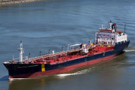 In this June 14, 2012 photo, the ship that would later become the Asphalt Princess sails through Quebec City, Canada. The hijackers who captured the Asphalt Princess off the coast of the United Arab Emirates in the Gulf of Oman departed the targeted ship on Wednesday, Aug. 4, 2021, the British navy reported, as recorded radio traffic appeared to reveal a crew member onboard saying Iranian gunmen had stormed the asphalt tanker. (Steve Geronazzo via AP)