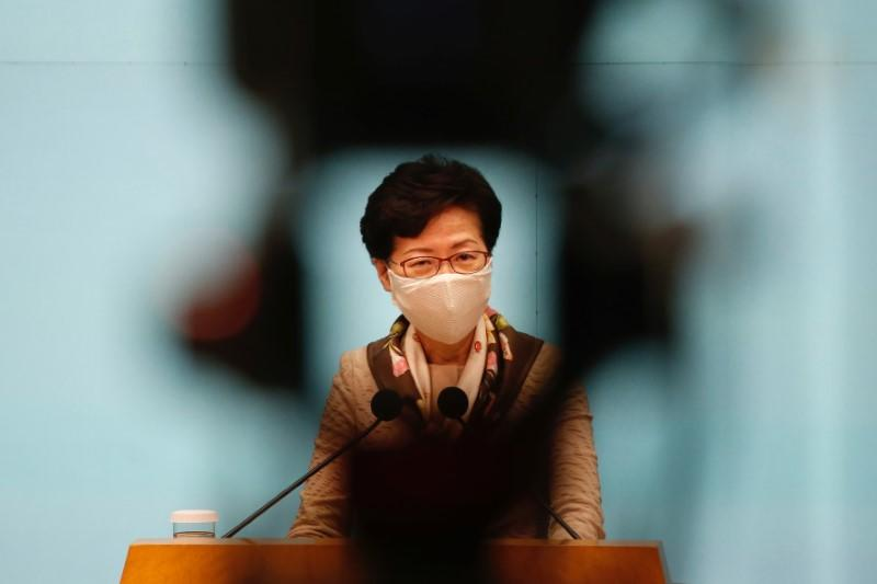 Hong Kong Chief Executive Carrie Lam, wearing a mask due to the ongoing global outbreak of the coronavirus (COVID-19), speaks during a news conference over the new national security legislation in Hong Kong