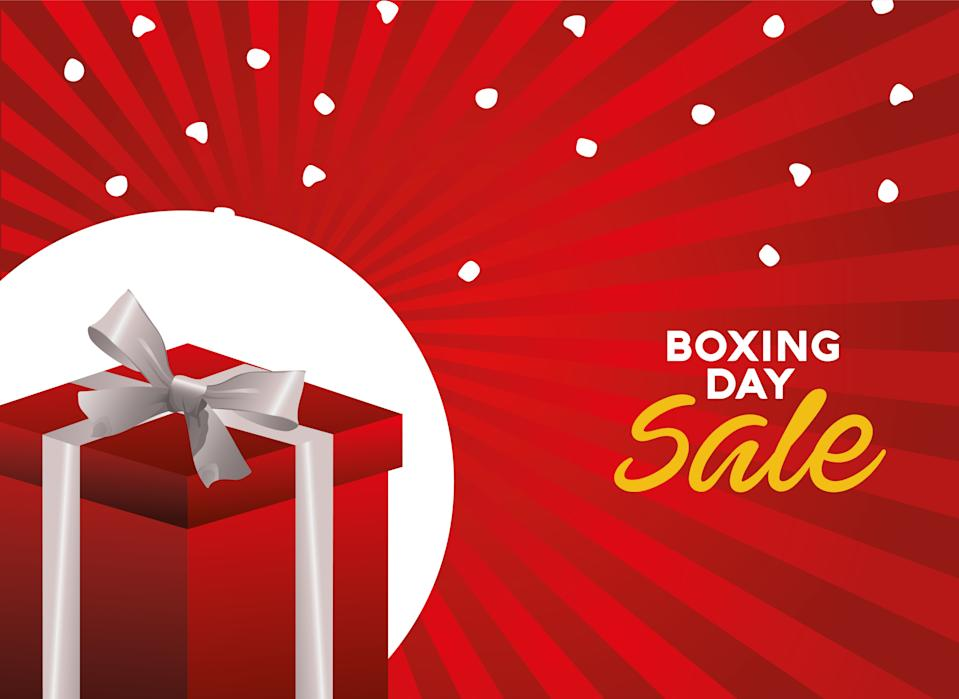 boxing day sale lettering with giftbox red vector illustration design