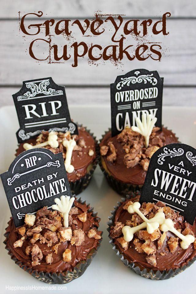 """<p>Printable tombstones and white chocolate """"bone""""s over crushed Snickers and chocolate cake, make for a spooky treat that's to die for. </p><p><strong>Get the recipe at <a href=""""http://www.happinessishomemade.net/2013/10/14/spooky-halloween-eyeball-punch-graveyard-cupcakes/"""" rel=""""nofollow noopener"""" target=""""_blank"""" data-ylk=""""slk:Happiness is Homemade"""" class=""""link rapid-noclick-resp"""">Happiness is Homemade</a>.</strong></p><p><a class=""""link rapid-noclick-resp"""" href=""""https://www.amazon.com/Wilton-Non-Stick-Muffin-Cupcake-Baking/dp/B00KIFBI1C/?tag=syn-yahoo-20&ascsubtag=%5Bartid%7C10050.g.1366%5Bsrc%7Cyahoo-us"""" rel=""""nofollow noopener"""" target=""""_blank"""" data-ylk=""""slk:SHOP CUPCAKE TINS"""">SHOP CUPCAKE TINS</a></p>"""