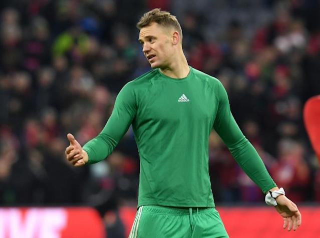 Bayern Munich goalkeeper Manuel Neuer wants to bounce back from defeat to Leverkusen last weekend by beating leaders Borussia Moenchengladbach (AFP Photo/Christof STACHE)