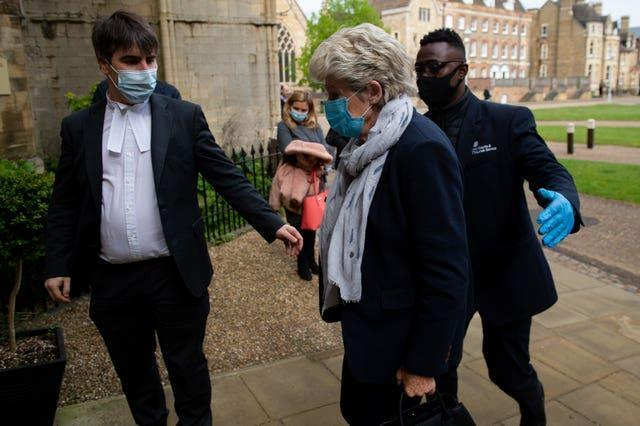 Lavinia Nourse, 77, of The Severals, Newmarket, arrives at Knights Chamber, Peterborough Cathedral Visitor And Learning Centre, Peterborough (Jacob King/PA)