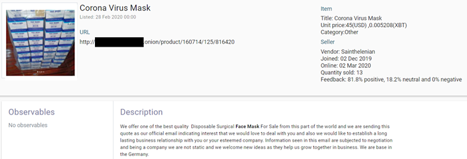 Listings for face masks on Empire market (Source: Digital Shadows' Shadow Search)