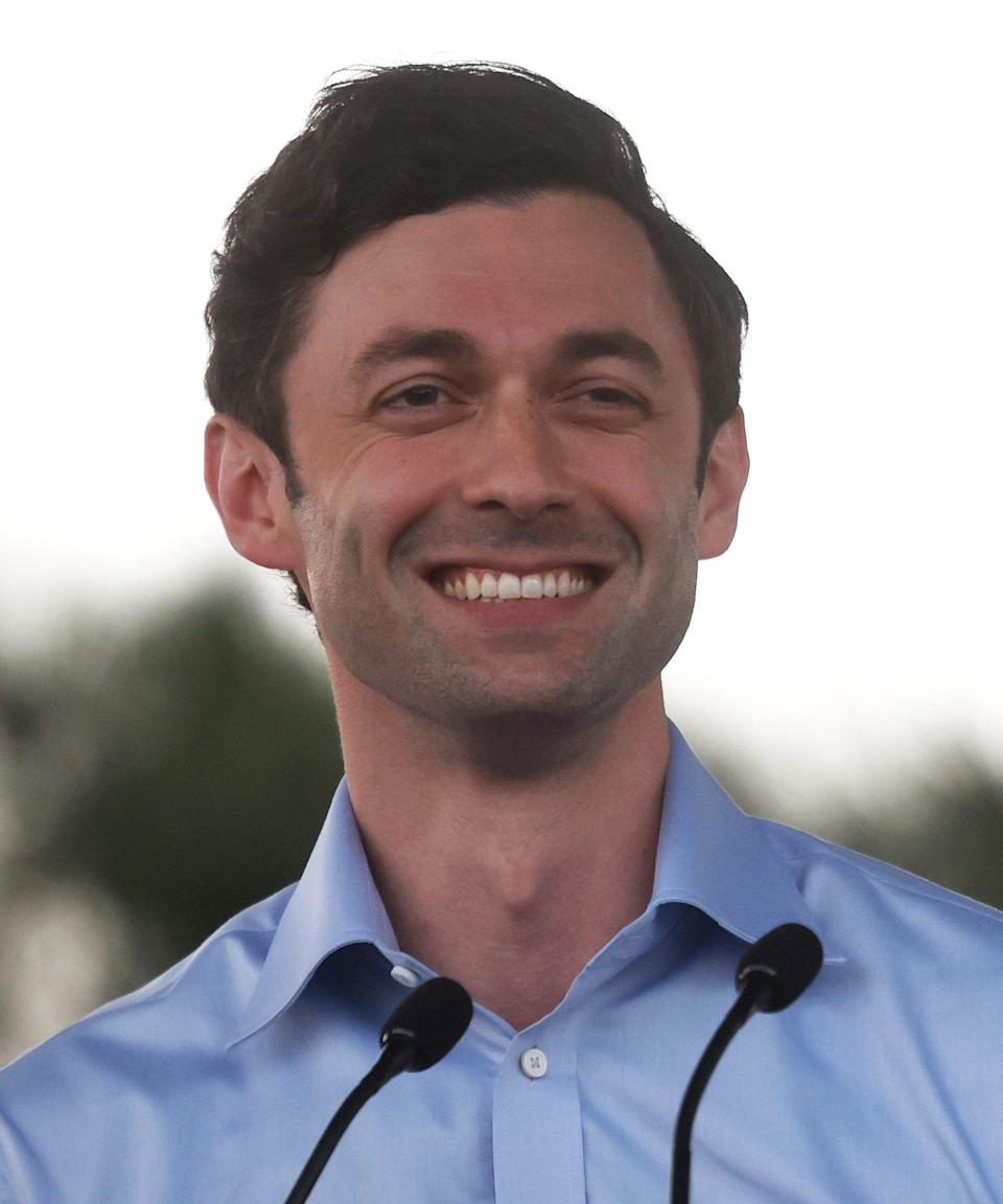 """<strong><h2>Georgia </h2></strong><br><br>Georgia has two contested races. In one, <strong>Jon Ossoff (D)</strong>, who in 2017 ran in a special election for a House seat in the Atlanta suburbs and lost, is challenging <strong>Sen. David Perdue (R)</strong>. The election is <a href=""""https://www.usatoday.com/story/news/politics/elections/2020/11/03/georgia-senate-races-congress-special-election/6092300002/"""" rel=""""nofollow noopener"""" target=""""_blank"""" data-ylk=""""slk:so close"""" class=""""link rapid-noclick-resp"""">so close</a> that it could go to a runoff.<span class=""""copyright""""> Photo: Justin Sullivan/Getty Images.</span>"""