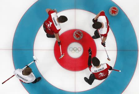 Curling - Pyeongchang 2018 Winter Olympics - Men's Bronze Medal Match - Switzerland v Canada - Gangneung Curling Center - Gangneung, South Korea - February 23, 2018 - Lead Valentin Tanner, skip Peter de Cruz and third Claudio Paetz of Switzerland in action. REUTERS/Cathal McNaughton