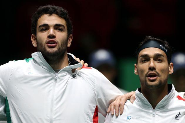 MADRID, SPAIN - NOVEMBER 18:  Matteo Berrettini (L) of Italy sings the national anthem prior to Fabio Fognini (R) of Italy playing against Vasek Pospisil of Canada during Day 1 of the 2019 Davis Cup at La Caja Magica on November 18, 2019 in Madrid, Spain. (Photo by Alex Pantling/Getty Images) (Photo: Alex Pantling via Getty Images)