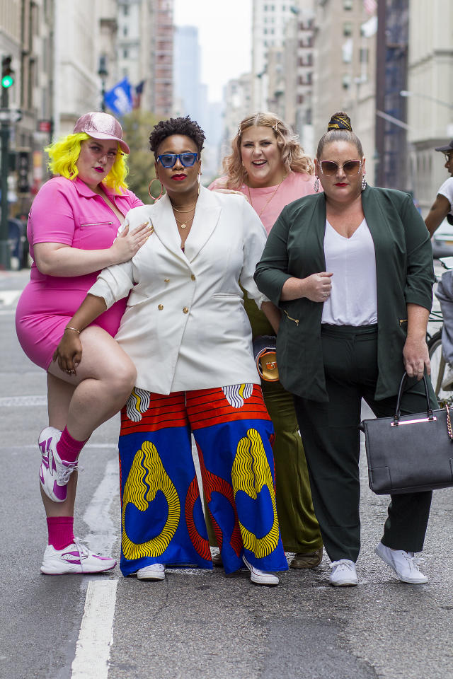 "<p>Meet your next crop of street style stars: <a rel=""nofollow"" href=""https://www.instagram.com/margieplus/?hl=en"">Margie Ashcroft</a>, <a rel=""nofollow"" href=""https://www.instagram.com/kellyaugustineb/?hl=en"">Kelly Augustine</a>, <a rel=""nofollow"" href=""https://www.instagram.com/littlelimedress/?hl=en"">Meaghan O'Connor</a>, and <a rel=""nofollow"" href=""https://www.instagram.com/glitterandlazers/?hl=en"">Anna O'Brien</a> pose in fashion-forward statement look outside theCURVYcon. (Photo: Harald Austad) </p>"