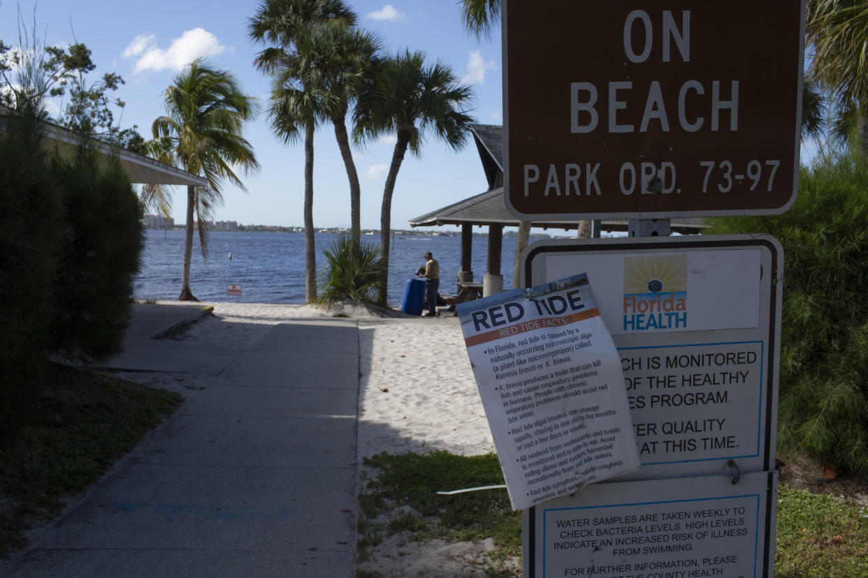Due to the effects of the red tide, swimming is prohibited in Cape Coral, Fla., Oct. 16, 2018. (Photo: Saul Martinez for Yahoo News)