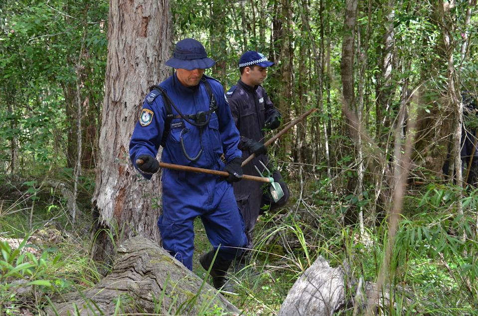 NSW Police search for evidence of missing William near Bonny Hills on the NSW mid-north coast in 2015. Source: AAP