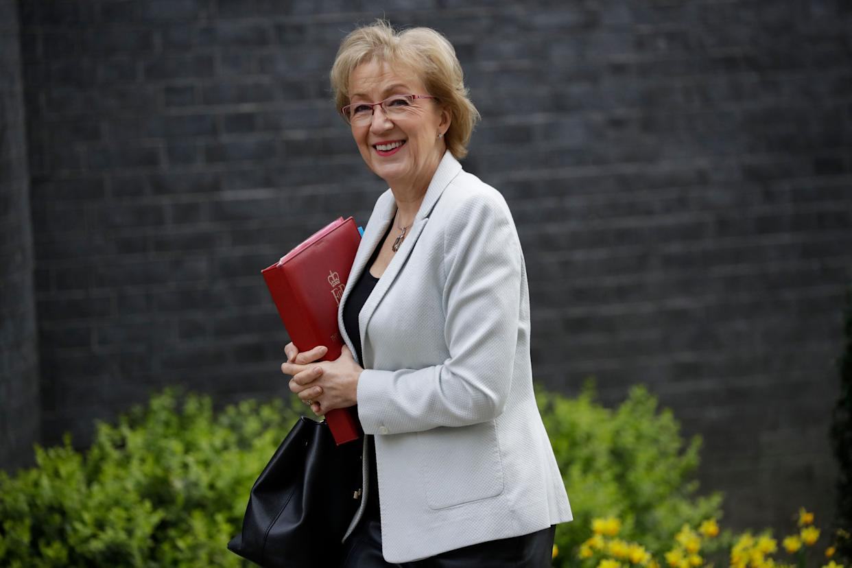Britain's Andrea Leadsom the Leader of the House of Commons arrives for a cabinet meeting at 10 Downing Street in London, Tuesday, March 26, 2019. (AP Photo/Matt Dunham)