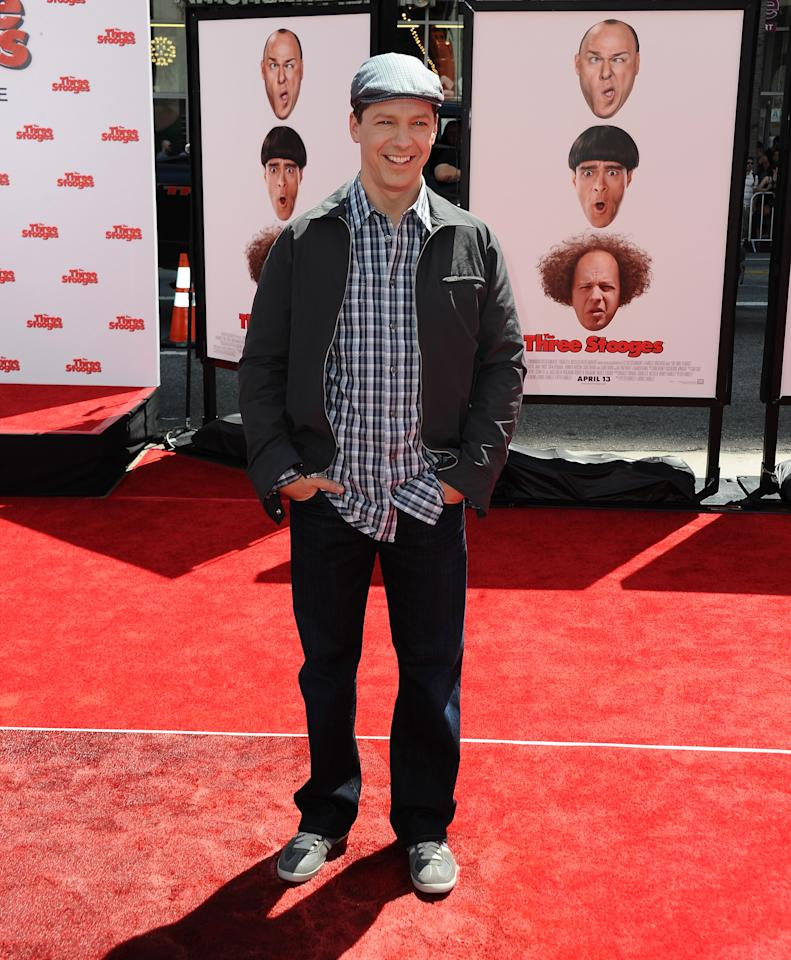"""HOLLYWOOD, CA - APRIL 07:  Actor Sean Hayes attends the Los Angeles premiere of """"The Three Stooges"""" on April 7, 2012 in Hollywood, California.  (Photo by Michael Buckner/Getty Images)"""