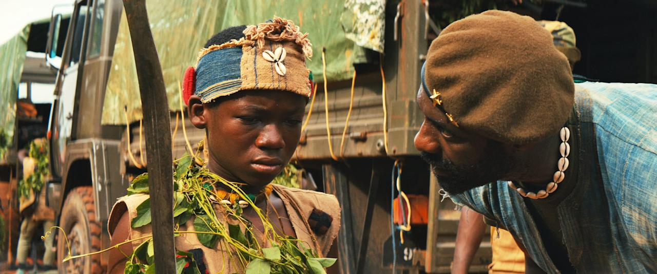 """<p>In a never-specified West African country, civil war rages and warlords recruit anyone and everyone they can and forcen them to fight in their armies. One such warlord comes upon a young orphan boy, who he takes in and trains to become a child soldier.</p> <p><a href=""""http://www.netflix.com/watch/80044545"""" target=""""_blank"""" class=""""ga-track"""" data-ga-category=""""Related"""" data-ga-label=""""http://www.netflix.com/watch/80044545"""" data-ga-action=""""In-Line Links"""">Watch <strong>Beasts of No Nation</strong> on Netflix.</a></p>"""