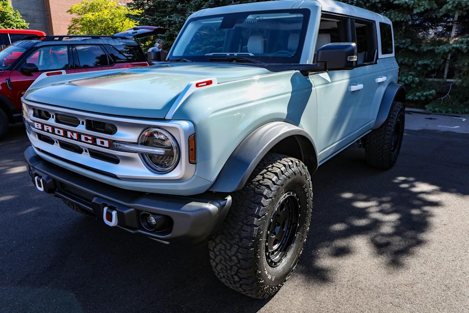 2021 Ford Bronco is displayed in the courtyard at the Ford Motor Co. Product Development Center in Dearborn, Mich. on Thursday, Oct. 1, 2020. The PDC, which saw the development of every Ford designed for America for over six decades, is being torn down to make room for a new high-tech campus.