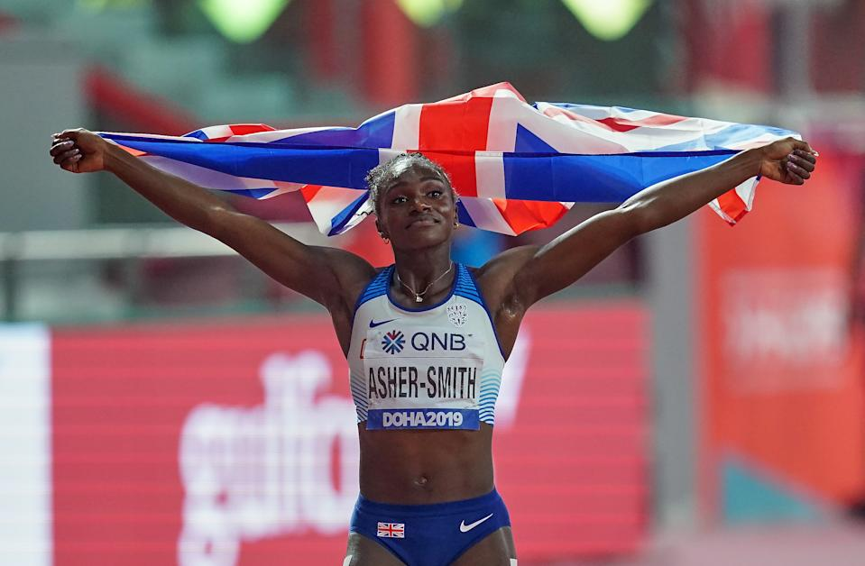 Dina Asher-Smith of United Kingdom winning the 200 meter for women during the 17th IAAF World Athletics Championships at the Khalifa Stadium in Doha, Qatar on October 2, 2019. (Photo by Ulrik Pedersen/NurPhoto via Getty Images)