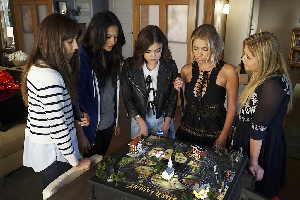<p>Troian Bellisario as Spencer Hastings, Shay Mitchell as Emily Fields, Lucy Hale as Aria Montgomery, Ashley Benson as Hanna Marin and Sasha Pieterse as Alison DiLaurentis in Freeform's <em>Pretty Little Liars</em>.<br /><br />(Photo: Eric McCandless/ABC) </p>