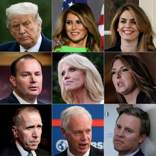 President Donald Trump, first lady Melania Trump, Hope Hicks, Sen. Mike Lee, Kellyanne Conway, Republican National Committee Chair Ronna McDaniel, Sen. Thom Tillis, Sen. Ron Johnson, Trump Campaign Manager Bill Stepien. (Saul Loeb/AFP via Getty Images)