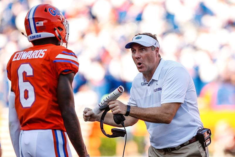 GAINESVILLE, FL - SEPTEMBER 15: Florida Gators head coach Dan Mullen talks with Florida Gators defensive back Brian Edwards (6) during the game between the Colorado State Rams and the Florida Gators on September 15, 2018 at Ben Hill Griffin Stadium at Florida Field in Gainesville, Fl. (Photo by David Rosenblum/Icon Sportswire via Getty Images)