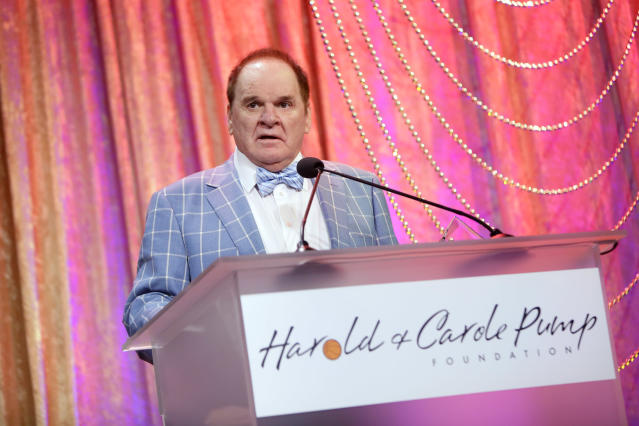 Pete Rose is using the Astros cheating scandal in his newest bid for reinstatement. (Photo by Tiffany Rose/Getty Images for Harold and Carole Pump Foundation )