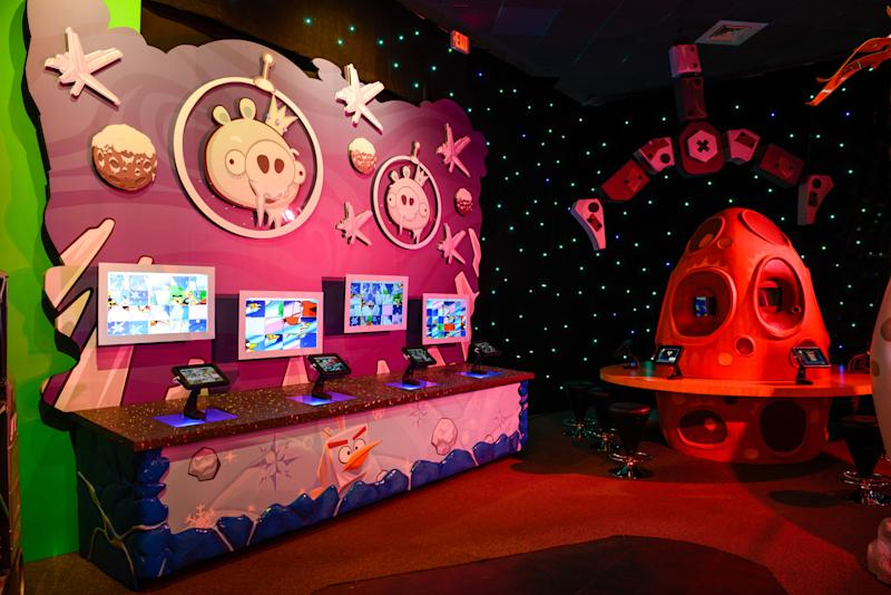 This March 22, 2013 image shows part of the new Angry Birds attraction at the Kennedy Space Center in Cape Canaveral, Fla. This part of the attraction is a sliding puzzle with three levels of difficulty. The online game Angry Birds is the inspiration for the new attraction at the space center, where most of the exhibits focus on space exploration and NASA history. (AP Photo/Delaware North, Joe Cascio)