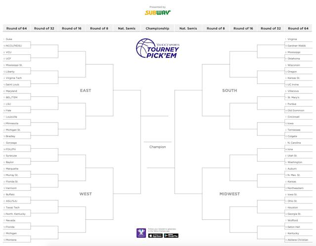 Click for printable NCAA tournament bracket.