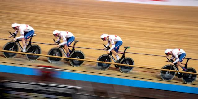 Great Britains teams Edward ClancyEthan Hayter Charlie Tanfield and Oliver Wood compete in the Mens Team Pursuit qualifying at the UCI track cycling World Championship in Berlin on February 26 2020 Photo by Odd ANDERSEN AFP Photo by ODD ANDERSENAFP via Getty Images