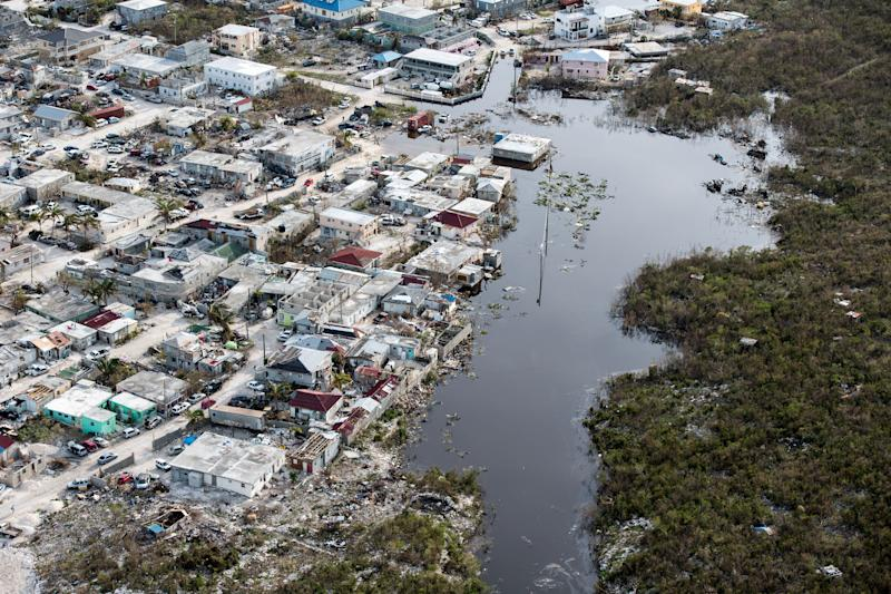 An aerial view on Sept. 11 shows flooding and damage after Hurricane Irma passed over Providenciales on the Turks and Caicos islands. (Cpl. Darren Legg RLC/Ministry of Defence handout via Reuters)