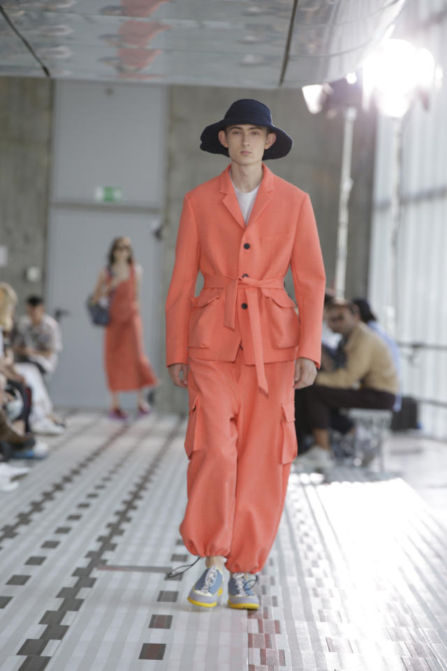 A model wears a creation as part of Sunnei men's 2019 Spring-Summer collection, unveiled during the Fashion Week in Milan, Italy, Sunday, June 17, 2018. (AP Photo/Luca Bruno)