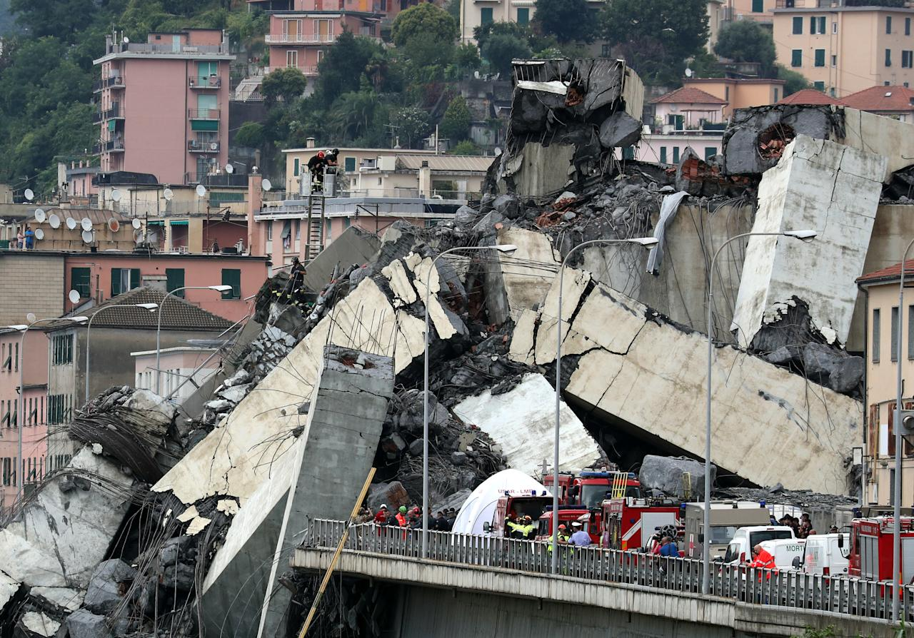 <p>The collapsed Morandi Bridge is seen in the Italian port city of Genoa, Italy, Aug. 14, 2018. (Photo: Stefano Rellandini/Reuters) </p>