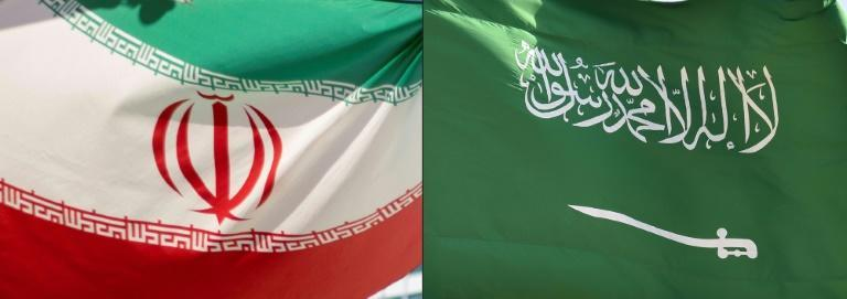 This combination of pictures shows the Iranian flag, left, and the Saudi Arabian flag -- officials from both countries have spoken positively about breakthrough talks on their relationship, cut since 2016 (AFP/JOE KLAMAR, OZAN KOSE)
