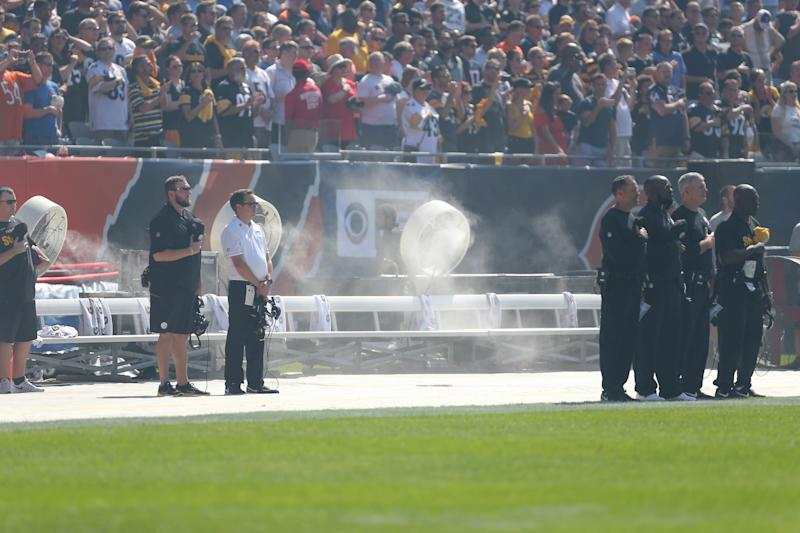 The Pittsburgh Steelers' bench was empty during the national anthem at Chicago's Soldier Field on Sunday. (USA Today Sports / Reuters)