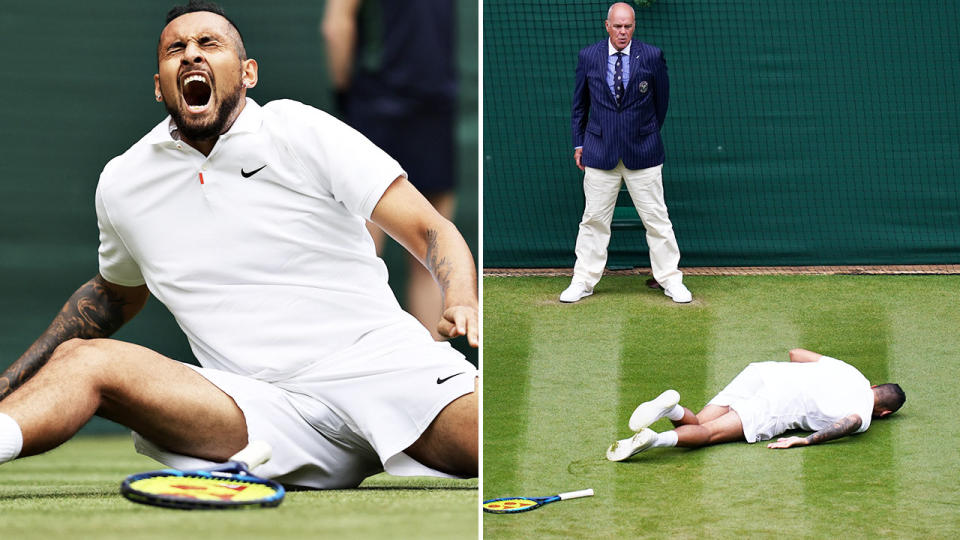 Nick Kyrgios, pictured here in agony after the nasty fall at Wimbledon.
