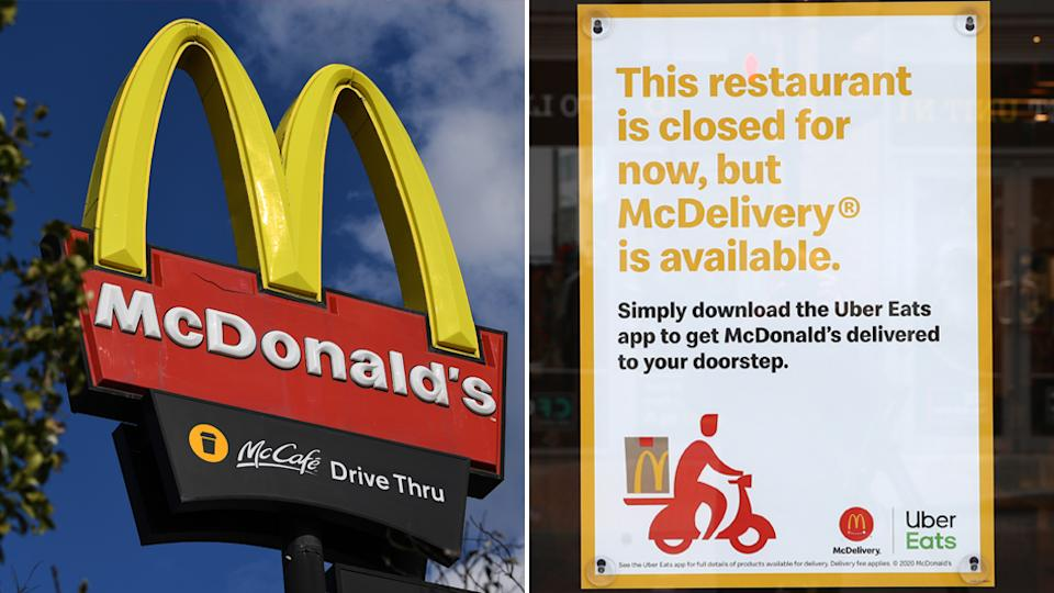 Melbourne McDonald's have reportedly close dine in and drive through options, opting for home delivery only in areas with stage four restrictions in place.