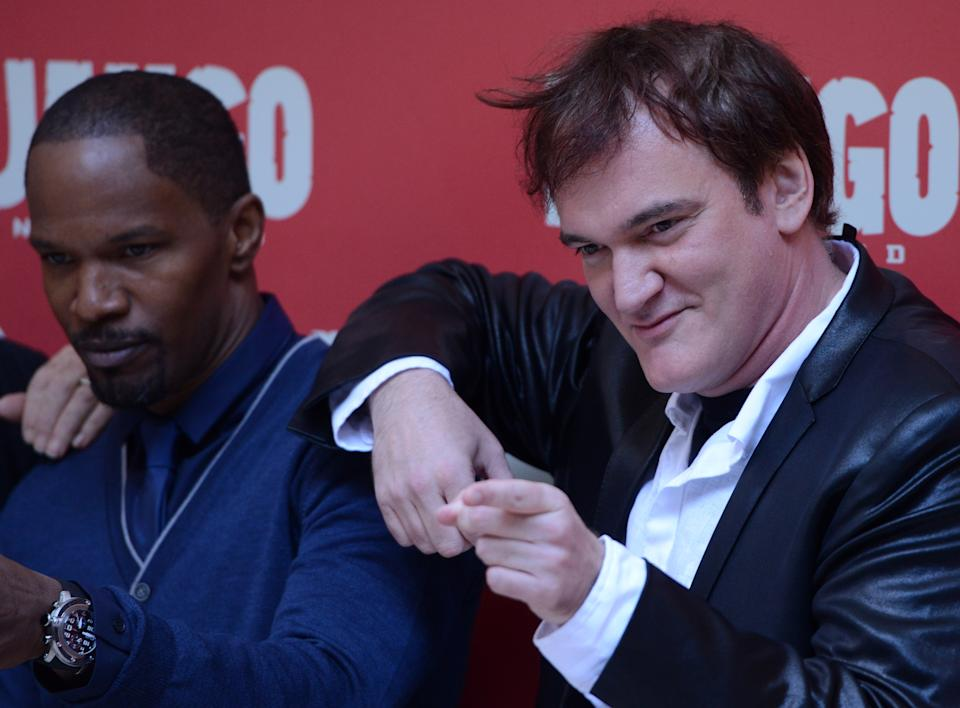 ROME , ITALY - JANUARY 04 : US actor Jamie Foxx and Director Quentin Tarantino pose during the photocall of the film 'Django Unchained' in Rome on January 4, 2013. Photo by Guido Marzilla/Gamma. (Photo by Guido MARZILLA/Gamma-Rapho via Getty Images)