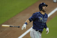 Tampa Bay Rays' Kevin Kiermaier grimaces after being hit by a pitch from Houston Astros pitcher Enoli Paredes during the sixth inning in Game 3 of a baseball American League Championship Series, Tuesday, Oct. 13, 2020, in San Diego. (AP Photo/Ashley Landis)